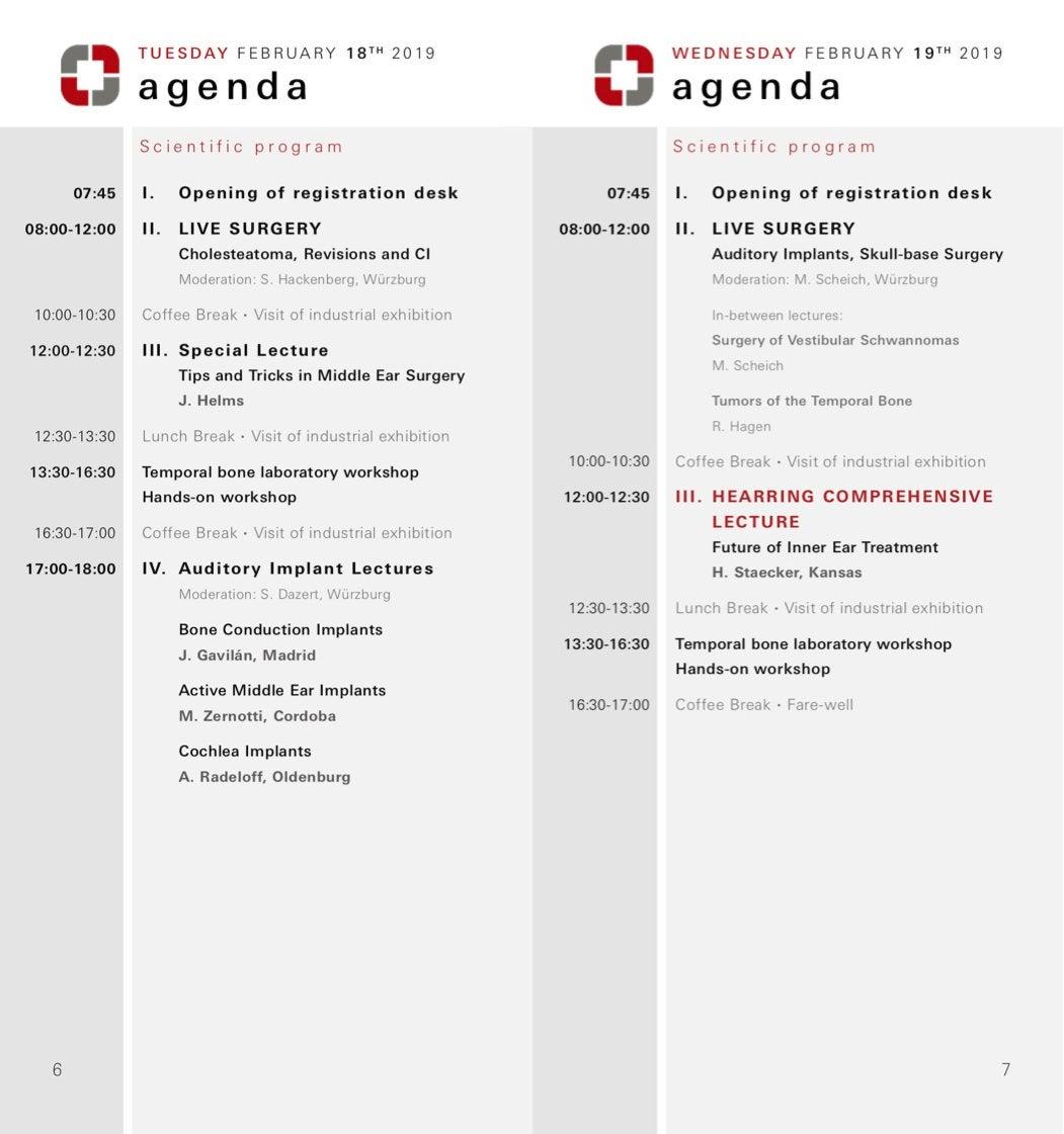 Hearring events agenda